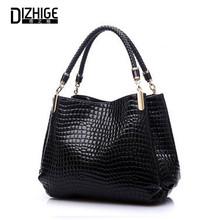 Big New Women Shoulder Bags Alligator Ladies Leather Bags Women Handbags Of Famous Brands Totes 2015 Black Sac Espagnol