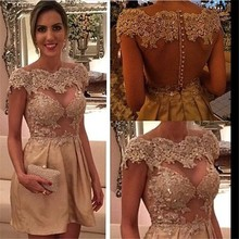 Real Image 2015 Sheer Back Lace Cocktail Dresses Champagne Capped Sleevs Short Party Evening Gowns Vestido De Festa MG06