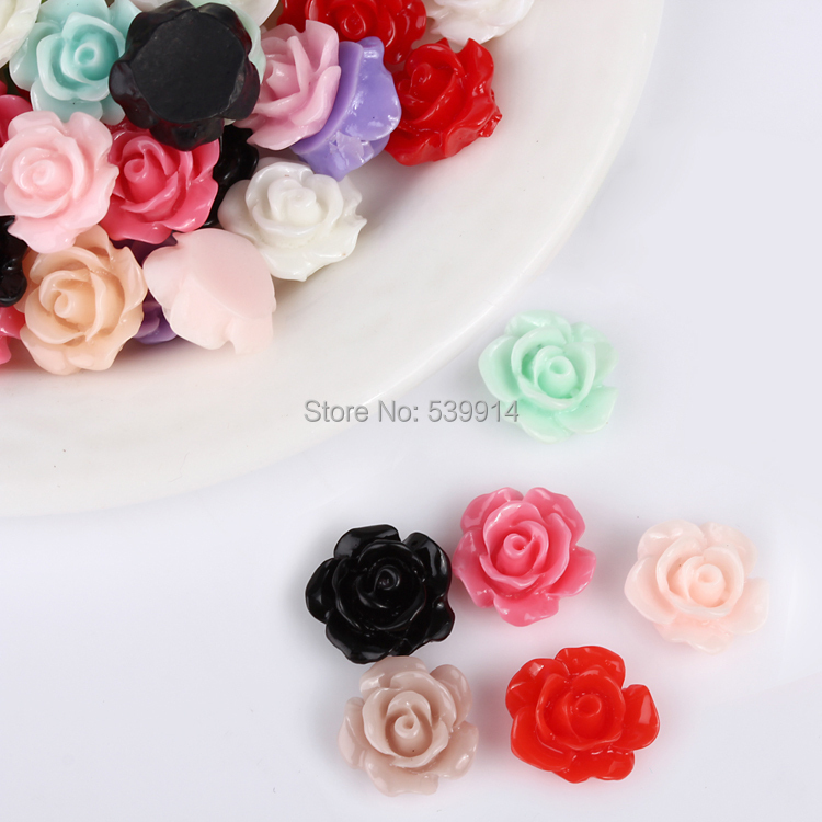 Free Shipping 10MM 300pcs/lot Mixed Colors Rose Flat Base Resin Flower Jewelry Beads DIY Finding Accessory(China (Mainland))