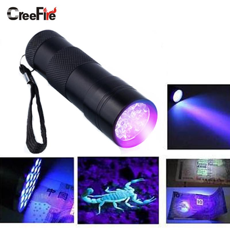 Mini Aluminum Portable UV Flashlight Violet Light 9 LED UV Torch Light Lamp Flashlight(China (Mainland))