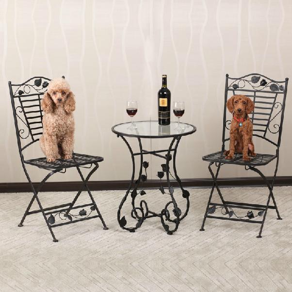 Online kopen wholesale iron tuinmeubelen uit china iron tuinmeubelen groothandel - Glazen tafel gesmeed ijzer en stoelen ...
