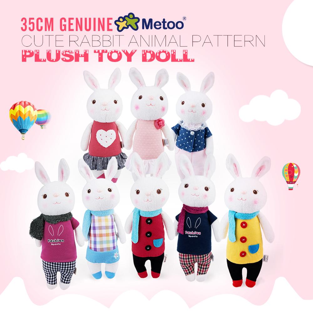 35cm Genuine Metoo Toys children Tiramisu Rabbits Cute Stuffed cartoon Animals Design Plush Toy Doll Birthday Gifts For Girls