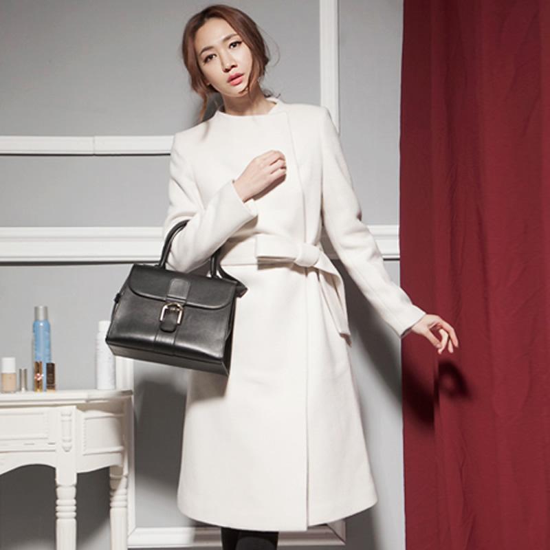2015 Korean winter new white wool coat long slim elegant temperament wollen overcoat