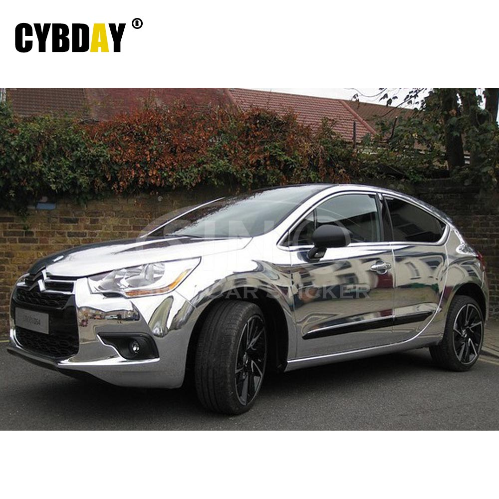 30*152cm Stretchable Chrome Mirror Silver Car Vinyl Wrapping Waterproof Silver Vinyl Wrap Sheet Roll Film Car Styling Stickers(China (Mainland))