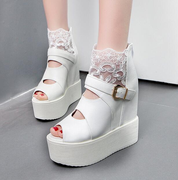 4-free shipping 2016 new vogue Adult open toe summer shoes women high heels fashion lace platform pumps wedges sandals 14cm