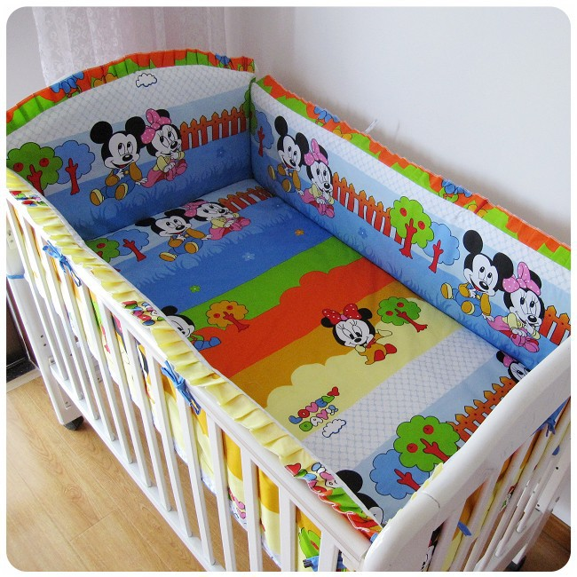Promotion! 6PCS Mickey Mouse cot bedding set baby bedding set (bumpers+sheet+pillow cover)<br><br>Aliexpress