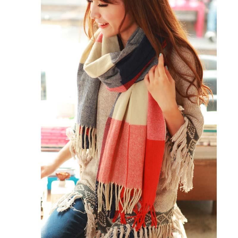 2016 New Fashion Women Wool Blend Tassels Plaid Checks Lattices Winter Scarf Shawl Wrap Warn Scarves About 190*64cm(China (Mainland))