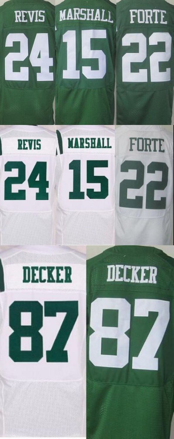 NEW arrival 15 Brandon Marshall 22 Matt Forte 24 Darrelle Revis 87 Eric Decker white green 100% Stitiched jersey(China (Mainland))