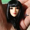 Girl Doll Head Sculpts 1 6 Black Long Hair Female Head Carving Model Toys F 12