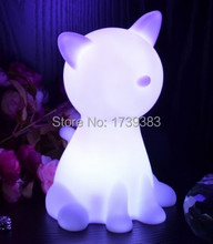 Free shipping Rainbow Colorful Animal Cat LED night light lamp for kids, Chien Night Lamp for Children Christmas Gift wholesales(China (Mainland))