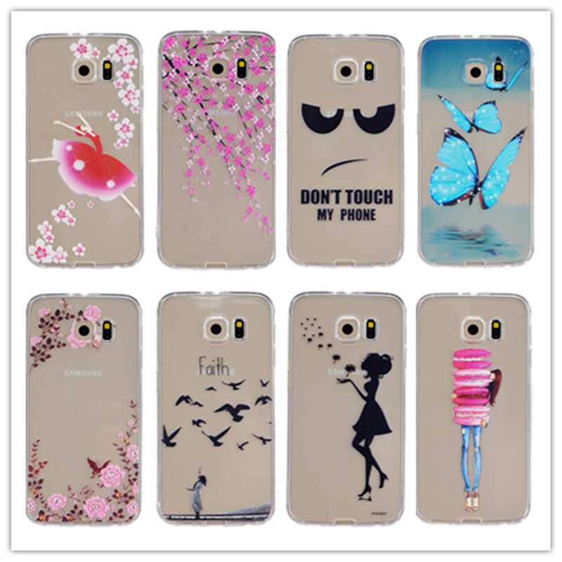 Luxury Soft TPU Case For Samsung Galaxy S6 Clear TPU Back Cover Printed Dandelion Peach Flowers Black Eyes Feather Phone Case(China (Mainland))