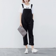 2016 Spring Summer Candy Color Strench Denim Overalls Full Length Casual Loose Jeans Overalls Jumpsuits Women 4Color