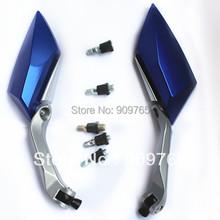 Free Shipping Pair Blue Custom Side Mirrors For Yamaha V Star 250 650 950 1100 1300 Virago VMax Motorcycle Honda Suzuki Kawasaki