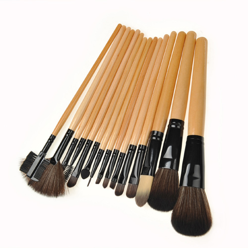 15 Pcs PROFESSIONAL Natural Wooden Handle Cosmetic Set hair + Black Makeup Rolling Bag(China (Mainland))