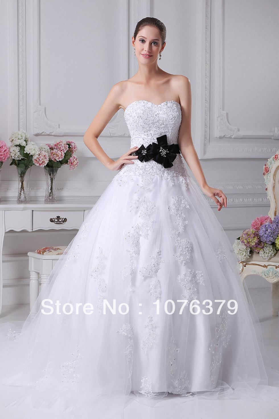 Cheap price strapless mermaid wedding dress a line for Black and white lace wedding dresses