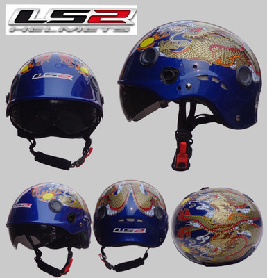 Free shipping LS2 OF101 motorcycle helmet half helmet wearable double mirror washable lining / Pearl Blue / Way of the Dragon(China (Mainland))
