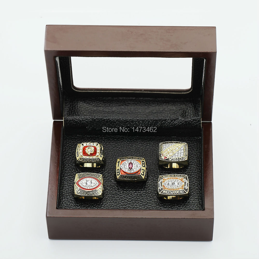 Free shipping Replica1972,1982,1983,1987,1991 washington redskins set Super Bowl Championship Rings Copper rings with wooden box<br><br>Aliexpress