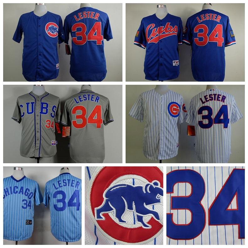 New Chicago Cubs 34 Jon Lester Jersey Blue 1994 Turn Back The Clock Stitched Baseball Jersey 100% polyester,Embroidery logs(China (Mainland))
