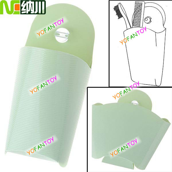 Durable PVC Material Wall Storage Bag with Suction Cup for Home & Travelling Use - Green