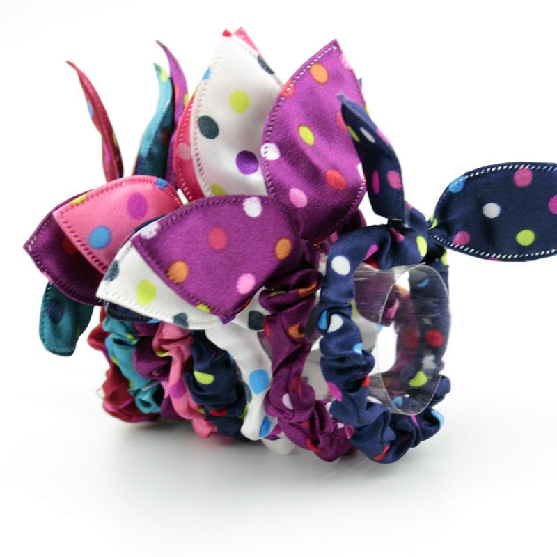 6 Piece Cheapest Hair Band Polka Dot Leopar Bow Rabbit Ears Headwear Hair Tie Baby Hair Accessories Hair Rope Women