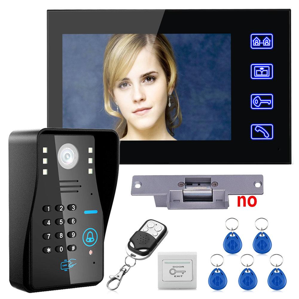 "Touch Key 7"" LCD RFID Password Video Door Phone Intercom System Kit+ Electric Strike Lock+ Wireless Remote Control unlock(China (Mainland))"