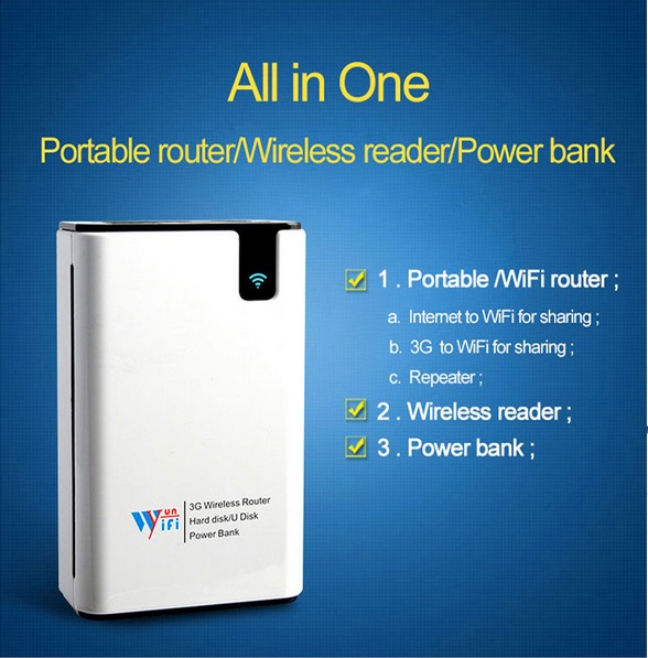 Newest Mobile Portable Multifunctional Mini Wireless Power Bank 3G WiFi Router Wireless Card Reader For Smart phone(China (Mainland))