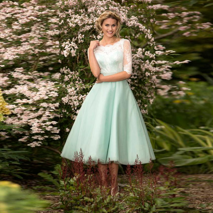 Buy robe de soiree elegant felicity lace for Elegant tea length wedding dresses