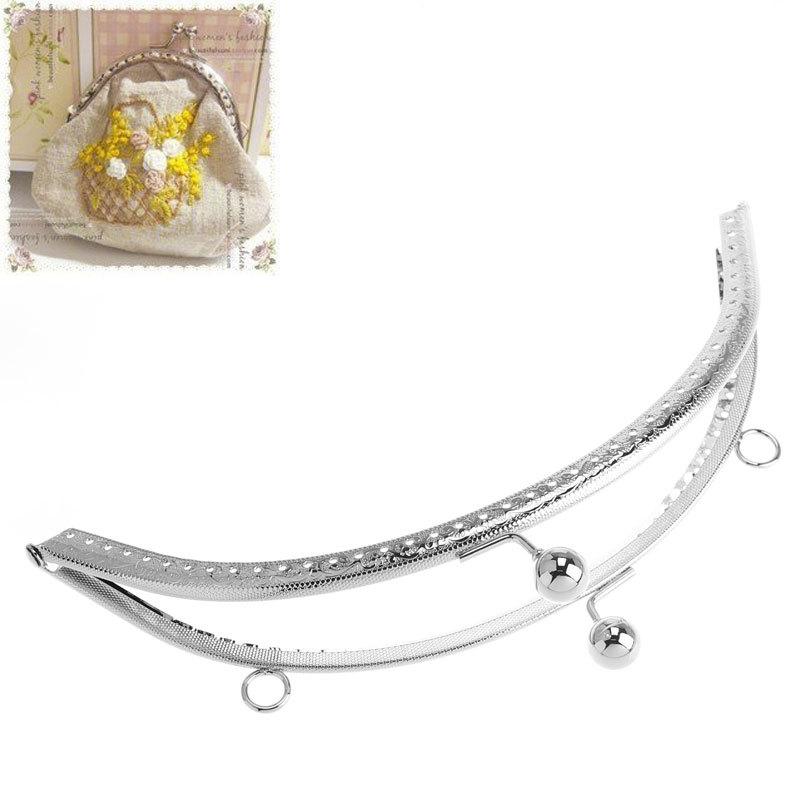 Free Shipping 2PCs Purse Bag Metal Arch Frame Kiss Clasp Lock Handle Round Ball Head Toggle Silver Tone 19.8cm x 10cm(China (Mainland))