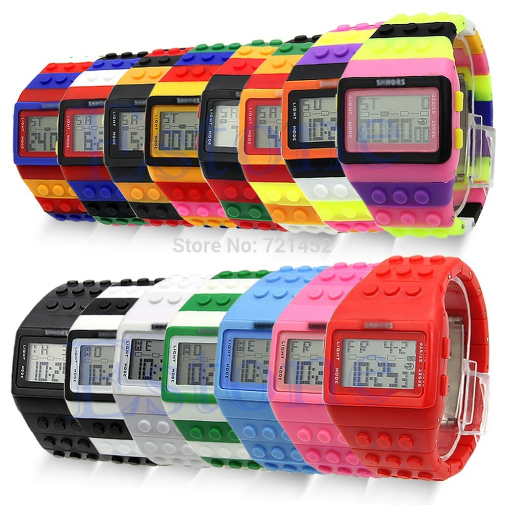 L155 Free Shipping Hot Rubber Unisex Multicolor Digital LED Date Day Rainbow Band Block Sport Watch