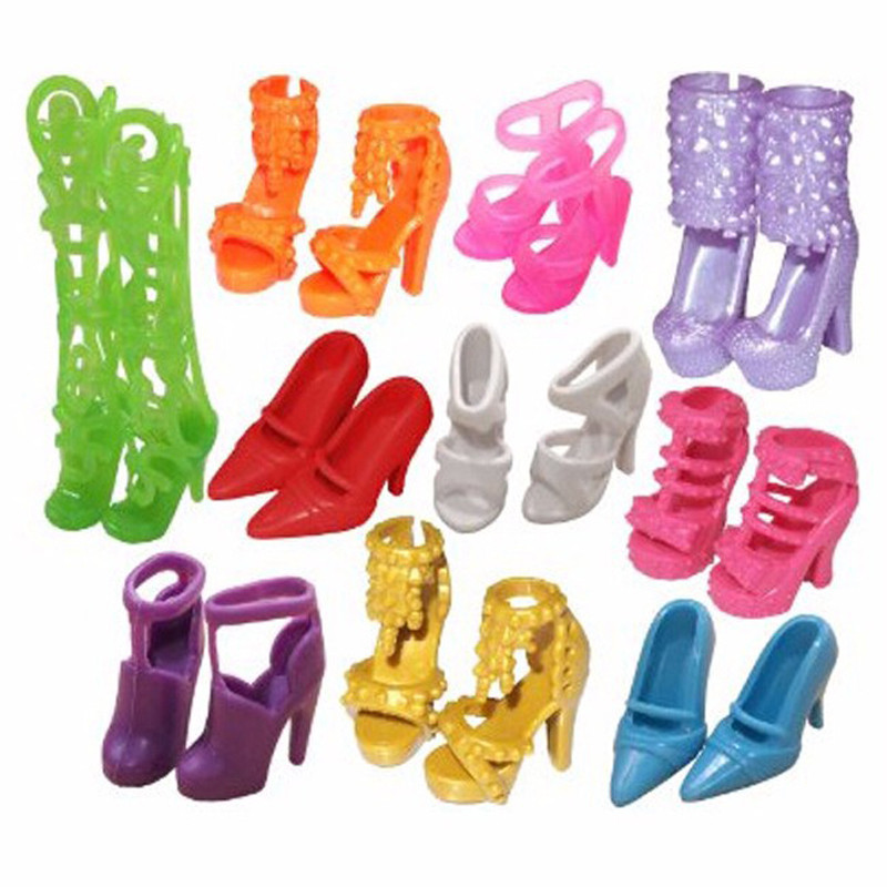 NK 10 pairs Doll Shoes Fashion Cute Colorful Assorted shoes for Barbie Doll with Different styles High Quality Baby Toy