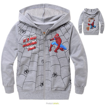 Loop pile cv3813 grey outerwear cartoon print cotton grey 100% loop pile bags hooded