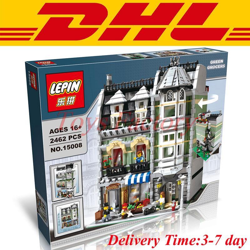 Фотография Lepin 15008 2462Pcs City Street Creator Green Grocer Model Building Kits Minifigure Blocks Bricks Compatible With Legoe 10185
