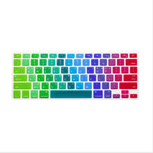 Korean Letter Rainbow US Keyboard Cover Silicone Skin Protector Protective Film 100pcs For Apple MacBook Pro Air Retina 13 15 17