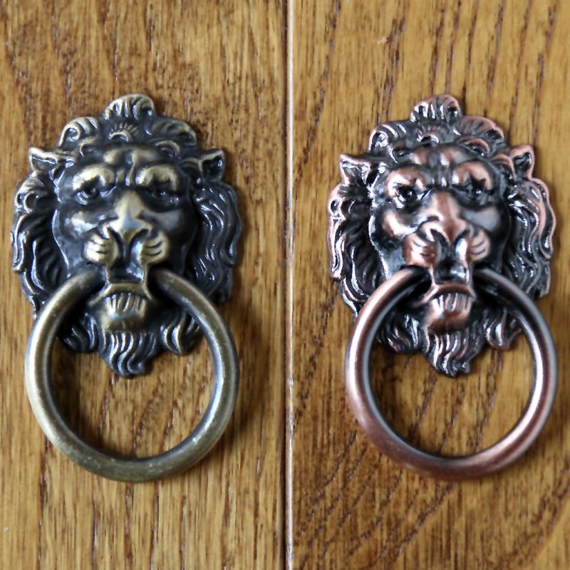 40mm x 67mm Antique Bronze Lion Head Furniture Knobs Cabinet Knobs and Handles Drawer Pulls Wardrobe Cupboard Door Handle <br><br>Aliexpress