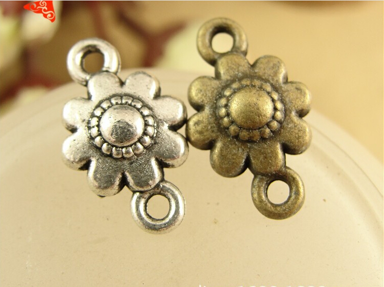 16*10MM Antique Bronze Retro flower type connection piece DIY jewelry material connector charms, vintage metal pendant jewellery(China (Mainland))