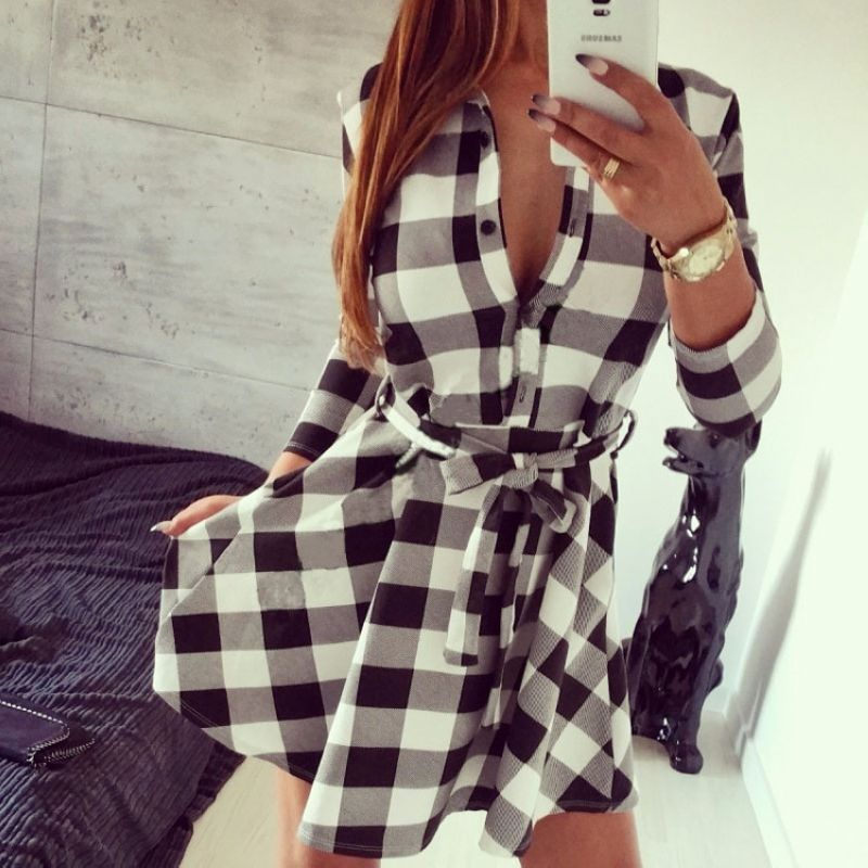 2017 Explosions Leisure Vintage Dresses Spring Autumn Fall Women Plaid Check Print Spring Casual Shirt Dress Mini(China (Mainland))