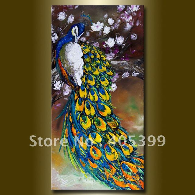 Thick Textured Plate Knife Painted Modern Home Decoration Gift   Peacock on the Magnolia Picture Oil Painting Wall Art  P006