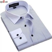 Men Shirt  2015 Striped Shirt Men Brand Business Casual Long Sleeve Turn-down Collar Striped Men Dress Shirt Men Clothes 5XL 6XL(China (Mainland))