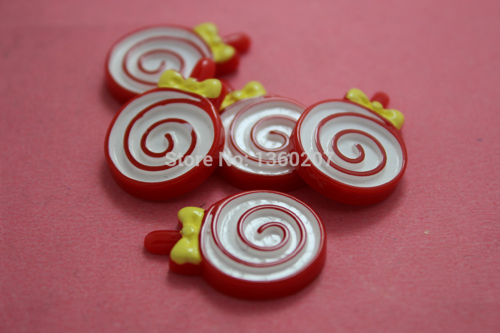 10pcs red flat back Resin Lollipop Cabochons for DIY phone decoration(China (Mainland))