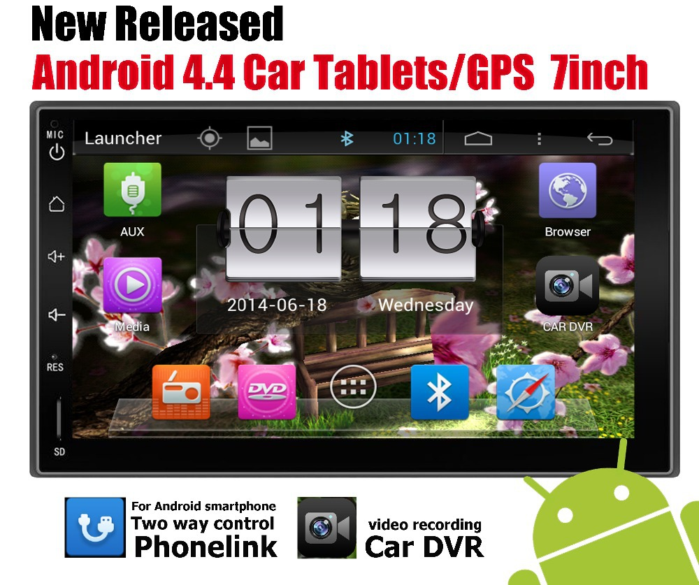 1024*600 LCD+16GB Android 4.4 Car Audio GPS Navigation 2DIN Car Stereo Radio Bluetooth/Universal Player+BACKUP camera+Phonelink<br><br>Aliexpress