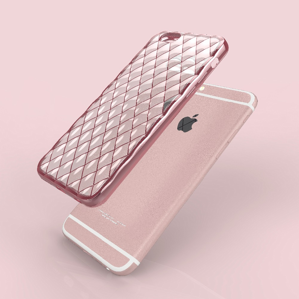 Luxury 3D Grid !!! Anti-Knock Transparent Silicone Cover Case For Iphone 6 / 6S 4.7 Soft Crystal TPU Cases + Gold Line Plating(China (Mainland))