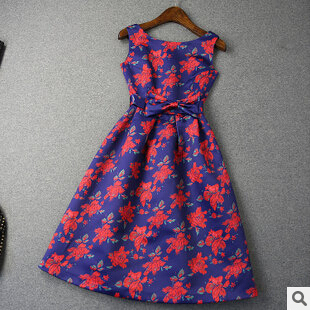 2015 Spring Summer New Womens Blue Dress Print Cotton Dresses For Party Traveling Club JYQ009Одежда и ак�е��уары<br><br><br>Aliexpress