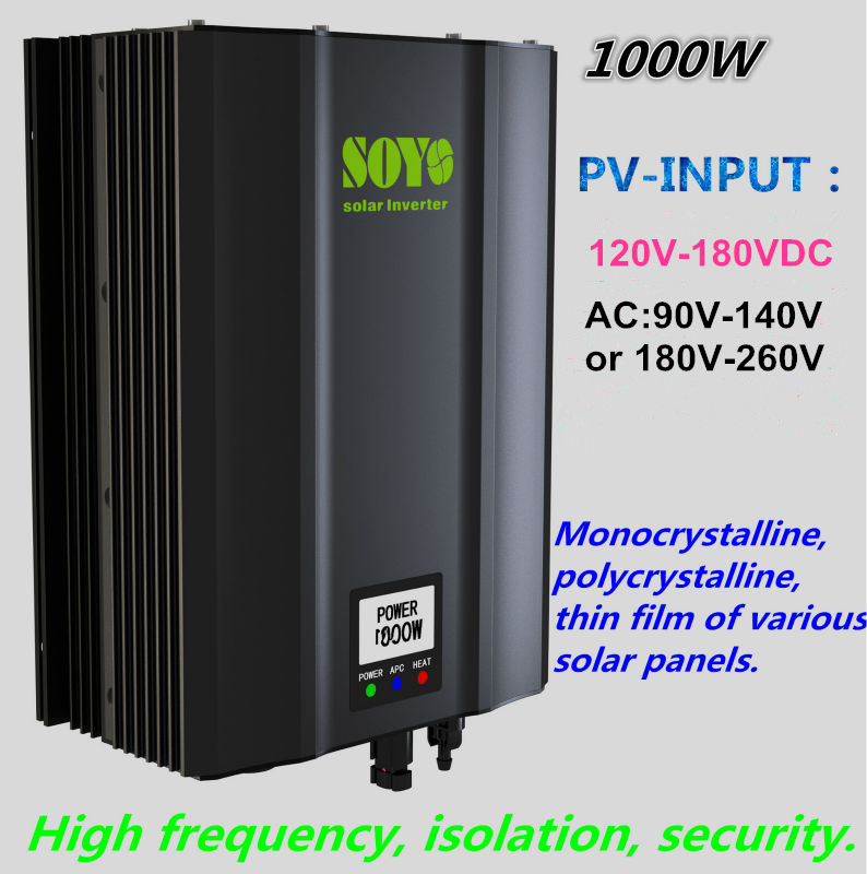 1000W Grid Tie solar inverter 120V-180V to AC180V-260V Waterproof High frequency isolation Safety High efficiency home System(China (Mainland))