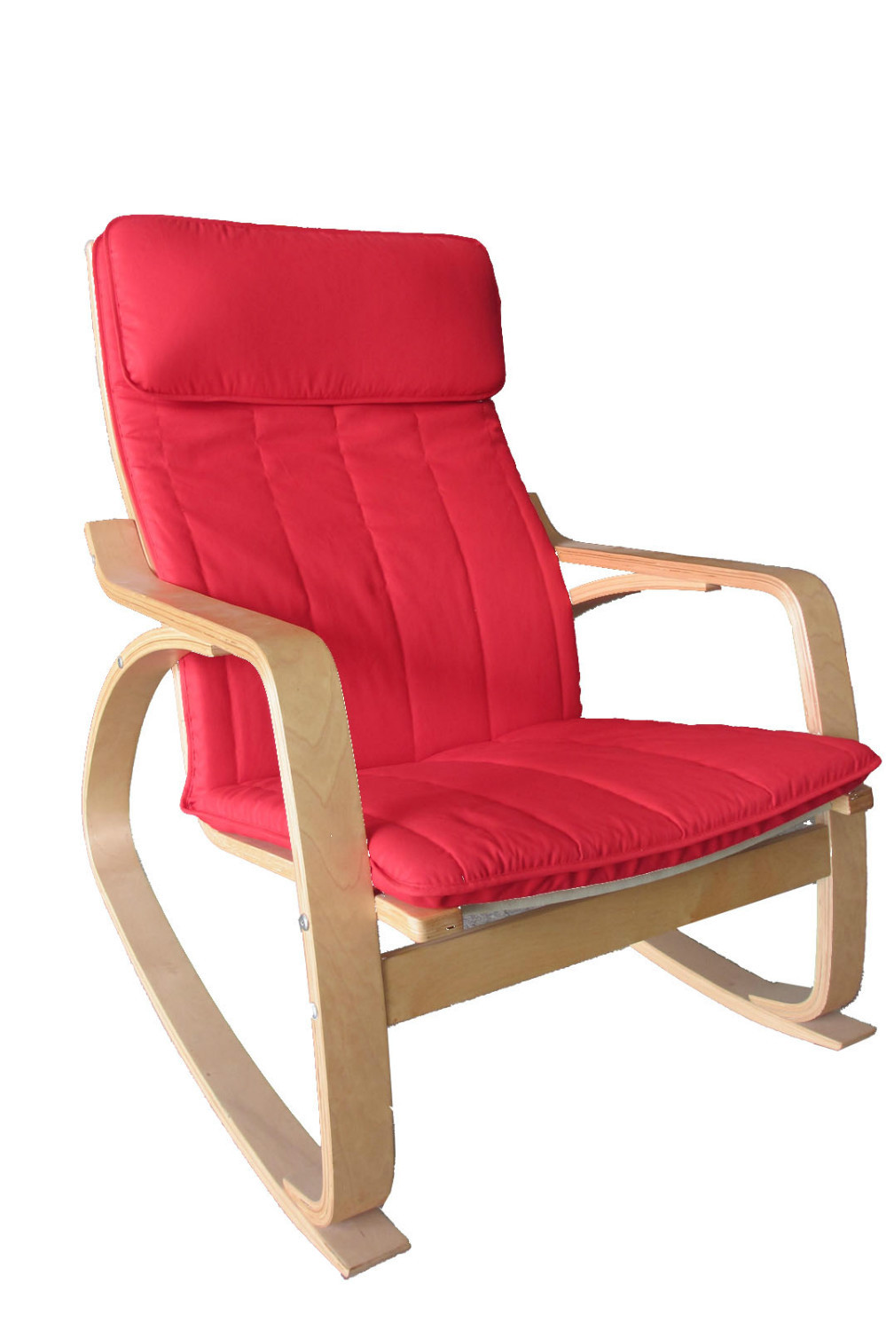 Happilar poang rocking chair bentwood with cushion natural frame and red - Red poang chair ...