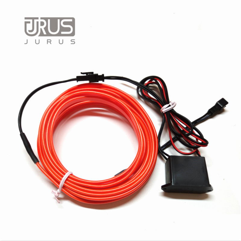 Car Styling 1/2/3/5M Car Flexible Neon Cold Light Glow Car Red EL cold Wire EL Strip Car Decoration With 12V Inverter(China (Mainland))