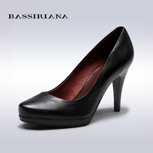 BASSIRIANA - women's high heels pumps, basic model for office lady, genuine leather, black color, free shipping(China (Mainland))