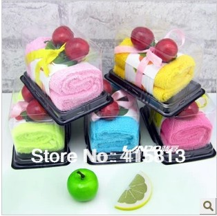 Free shipping originality cake towel gift 100%cotton hand towel commercial birthday wedding Christmas day gift 30x30cm 51g(China (Mainland))