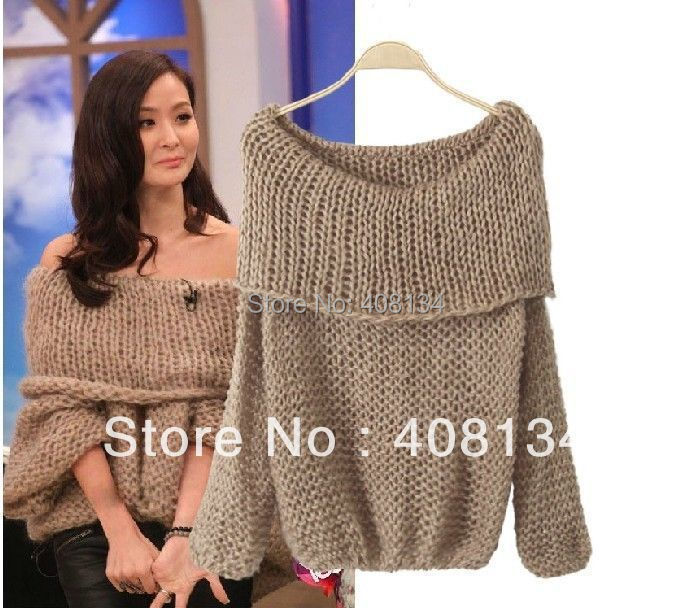 Oversized Jumper Knitting Pattern : Lady-Inspired-Chunky-Fuzzy-Oversized-Off-Shoulder-Loose-Knitted-Sweater-Jumpe...