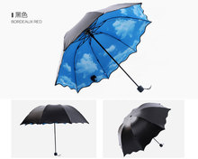Fantastic Multi-function Anti-uv Sun Protection Umbrella Blue Sky White Cloud 3 Folding Gift Sunny Rainy (China (Mainland))
