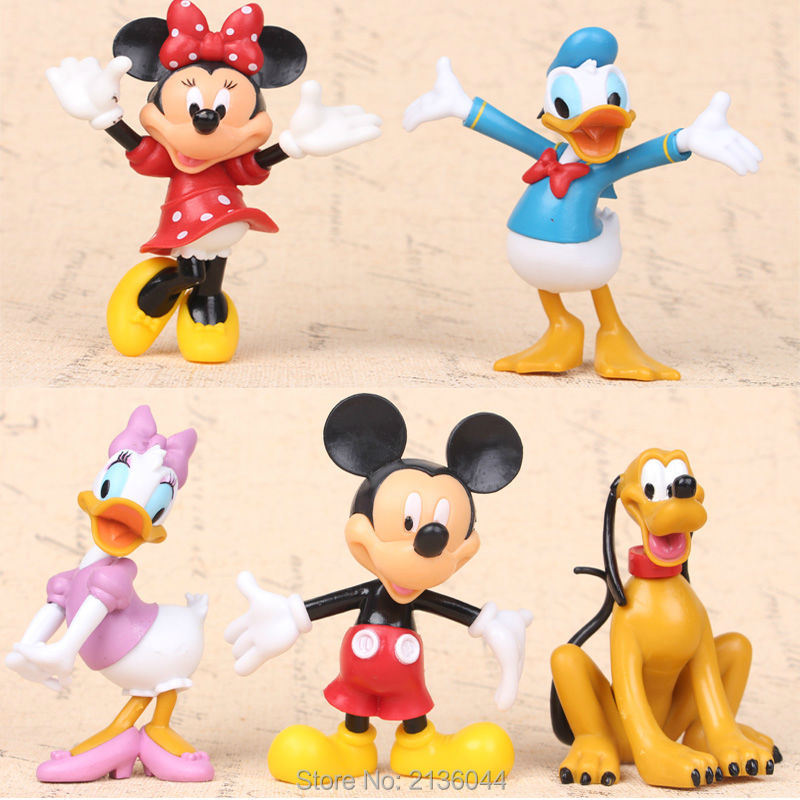 5pcs/set Disny Mickey Mouse Clubhouse Mickey Minnie Donald Duck Pluto Dog Cartoon Action Figure Kids Toys GIft For Boys Girls(China (Mainland))